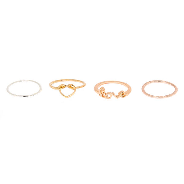 Claire's - mixed metal love midi rings - 2