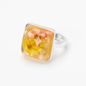 Silver Square Pressed Flower Ring,