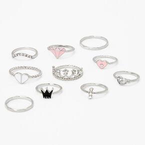 Silver Mixed Princess Crown Rings - Pink, 10 Pack,