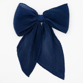 Barrette à nœud en mousseline plissée - Bleu marine,