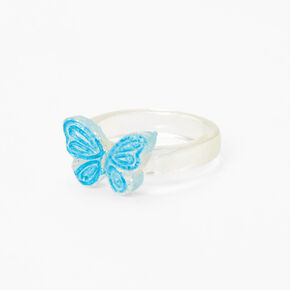 Clear Glitter Butterfly Resin Ring - Blue,