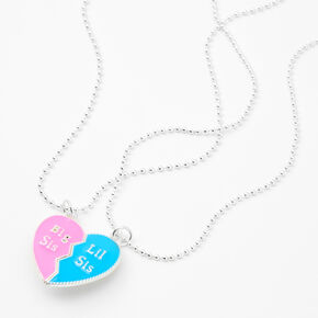 Big & Lil Sis Pink/Blue Split Heart Pendant Necklaces - 2 Pack,