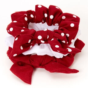 Claire's Club Small Solid Polka Dot Hair Scrunchies - Red, 3 Pack,