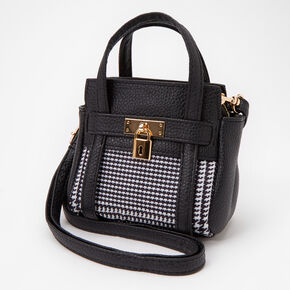 Black and White Houndstooth Plaid Crossbody Bag,