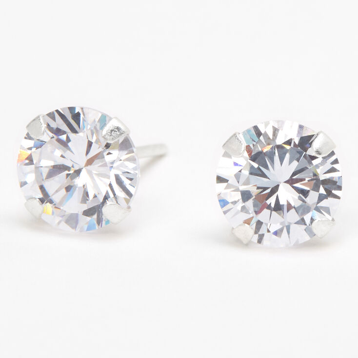 Sterling Silver Cubic Zirconia Round Martini Stud Earrings - 8MM,