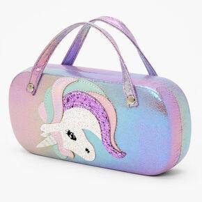 Claire's Club Glitter Unicorn Glasses Case - Purple,