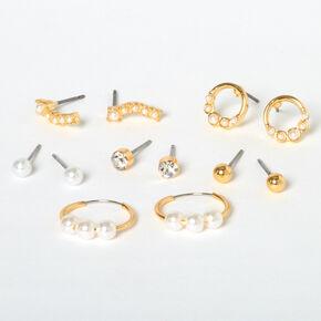 Boucles d'oreilles variées perles d'imitation classiques couleur dorée - Lot de 6,
