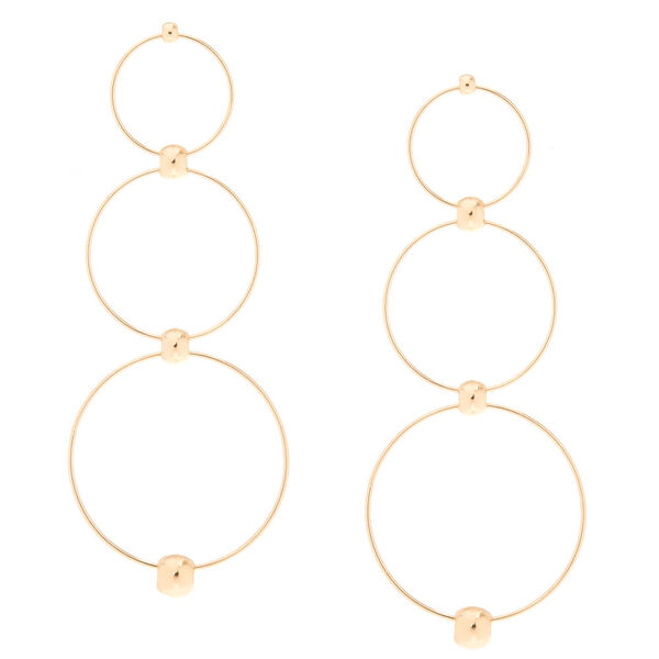 Claire's - gold-tone circle drop earrings - 1