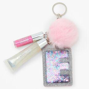 Initial Lip Gloss Keychain - Pink, E,
