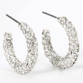 Silver 20MM Pave Rhinestone Hoop Earrings,
