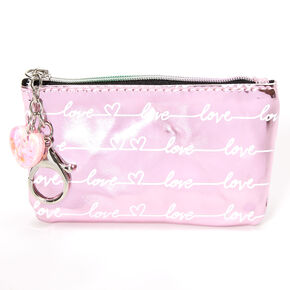 Metallic Love Script Coin Purse - Pink,