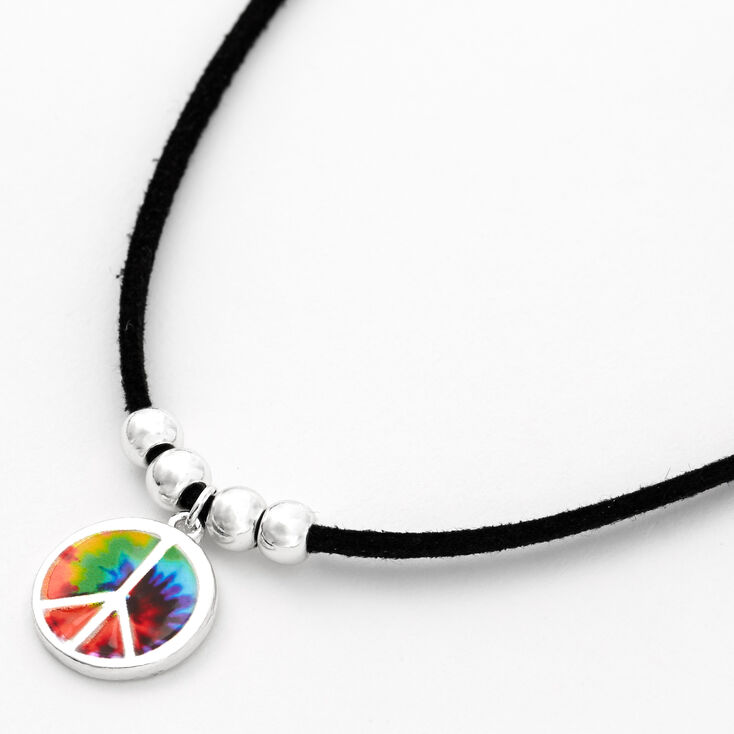 Silver Tie Dye Peace Sign Cord Pendant Necklace - Black,
