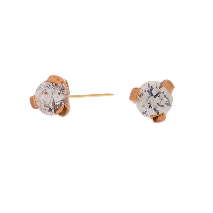 Rose Gold Titanium Cubic Zirconia Round Stud Earrings - 2MM,