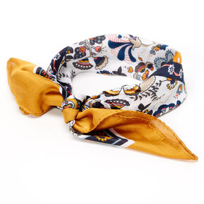 Butterfly Floral Bandana Headwrap - Yellow,