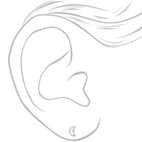 Clous d'oreilles étoile et lune ajourées couleur argentée - Lot de 2,