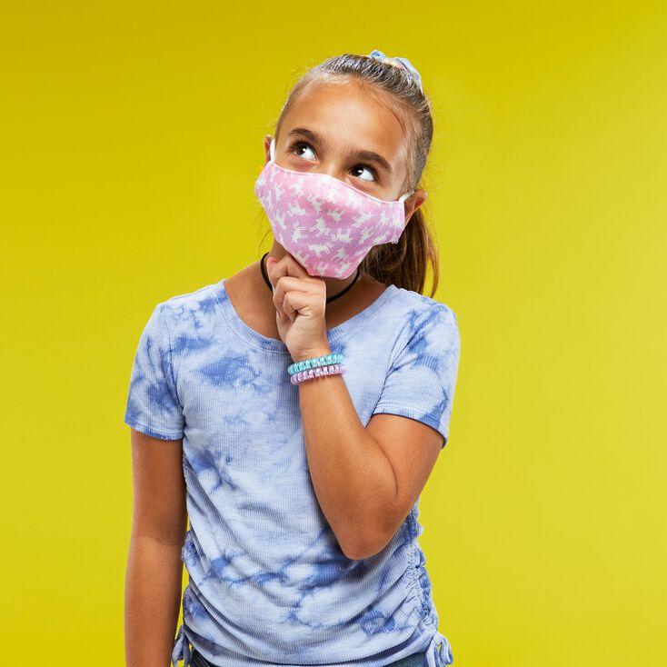 Cotton Pastel Pink Unicorn Face Mask - Child Medium/Large,