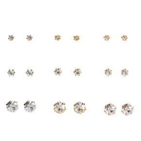 Mixed Metal Graduated Crystal Stud Earrings - 9 Pack,