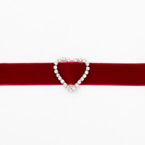Ras-de-cou en imitation velours cœur style bijou - Rouge,