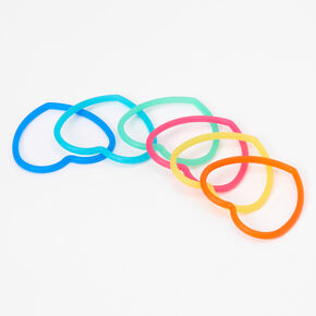 Claire's Club Neon Heart Bangle Bracelets - 6 Pack,