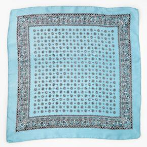 Bandeau bandana soyeux imprimé floral et cachemire - Bleu,