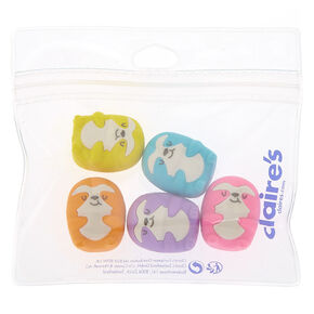 Rainbow Sloth Erasers - 5 Pack,