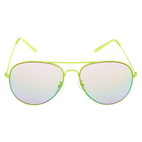 Aviator Sunglasses - Neon Yellow,