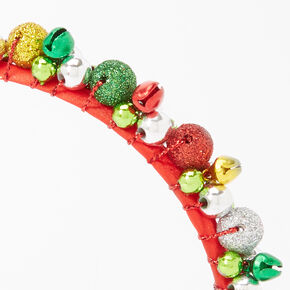 Glitter Jingle Bell Ornament Headband - Red,