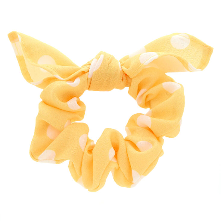 Small Polka Dot Knotted Bow Hair Scrunchie - Yellow,