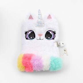 Caticorn Furry Lock Diary - White,