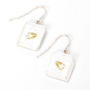 """Silver 1"""" Almond Milk Drop Earrings,"""
