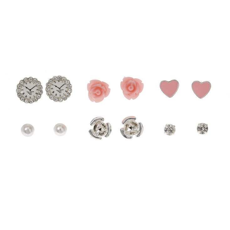 Pink Rose Stud Earrings 9 Pack