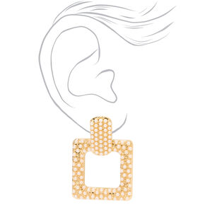 "Gold 1.5"" Pearl Door Knocker Drop Earrings,"
