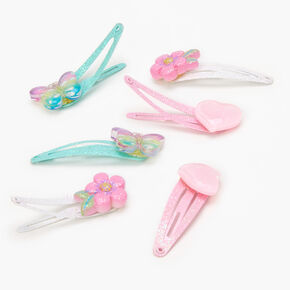 Claire's Club Glitter Pastel Snap Hair Clips - 6 Pack,