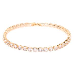 Bracelet de tennis avec zircon cubique d'imitation couleur doré rose,
