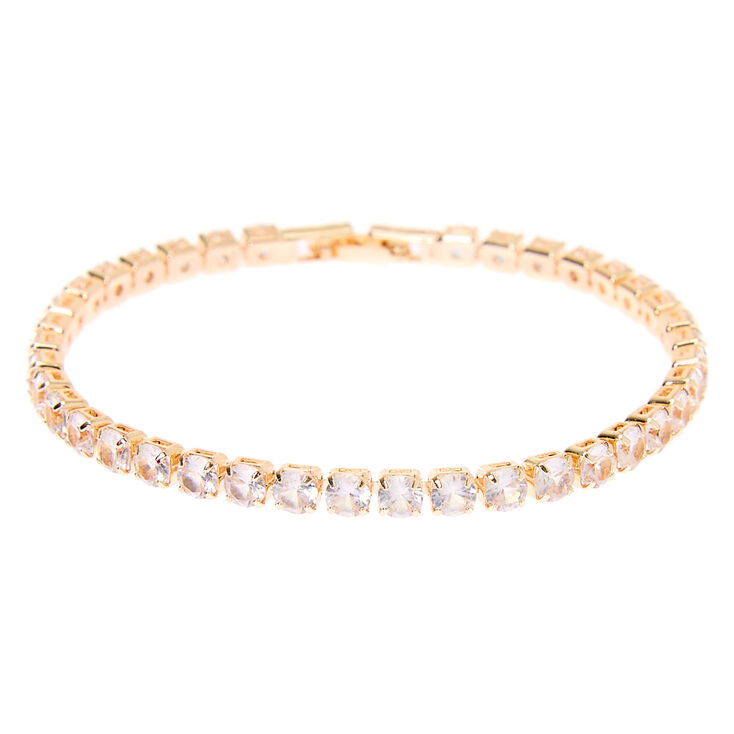 Rose Gold Cubic Zirconia Tennis Bracelet,