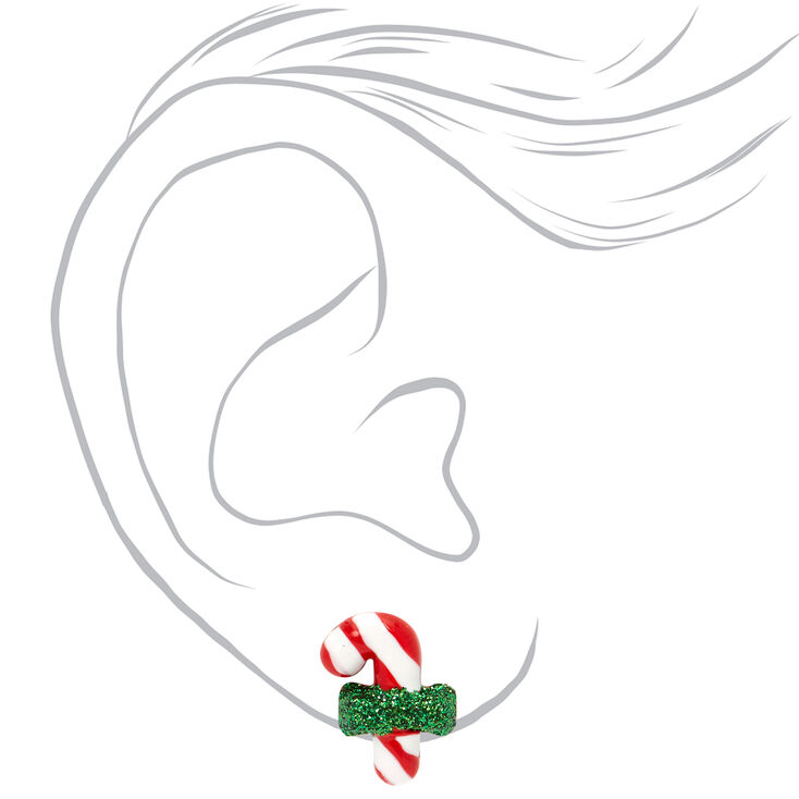 Glitter Bow Candy Cane Stud Earrings - Green,