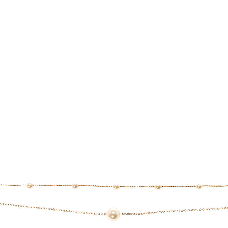 Double Strand  Pearl & Gold-tone Chain Choker Necklace,