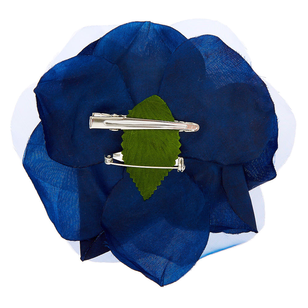 Barrette et épingle à cheveux rose en mousseline Bleu marine
