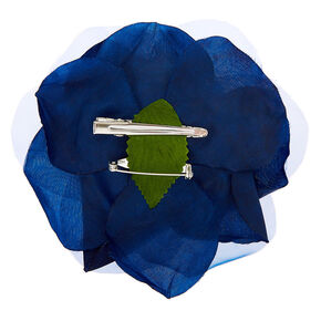 Chiffon Rose Hair Clip & Pin - Navy,