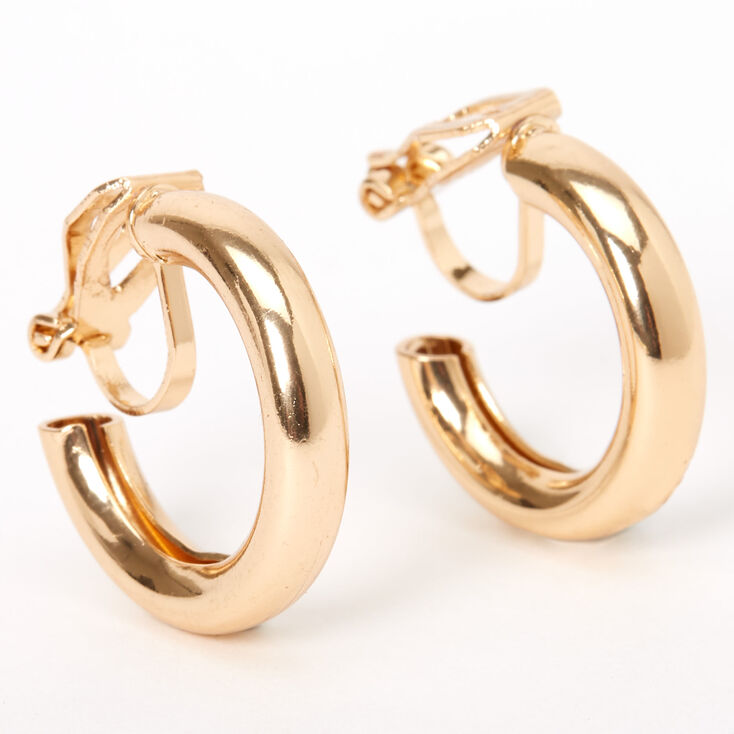 Gold 20MM Tube Clip On Hoop Earrings,