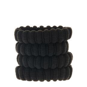 Large Ribbed Hair Bobbles - Black, 4 Pack,