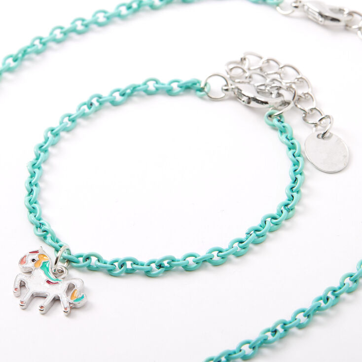 Claire's Club Rainbow Unicorn Jewellery Set - Turquoise, 2 Pack,
