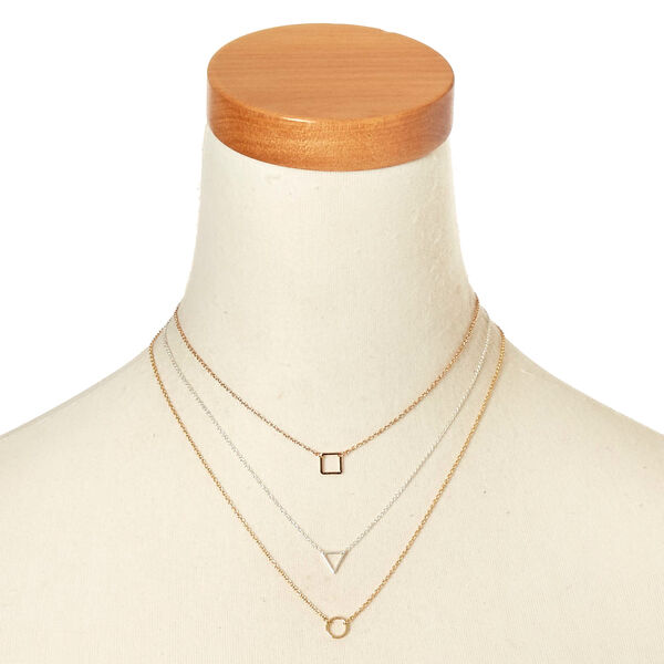 Claire's - mixed metal geo necklace set - 2