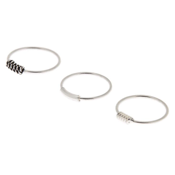 Sterling Silver Coiled Cartilage Hoop Earrings 3 Pack
