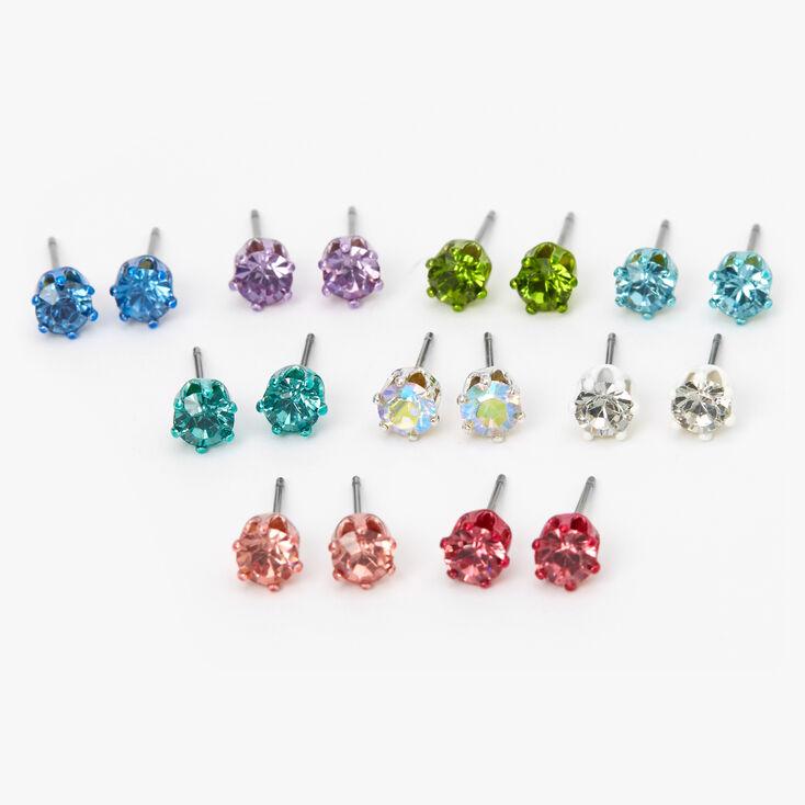 Pastel Rainbow Round Mixed Stud Earrings - 9 Pack,