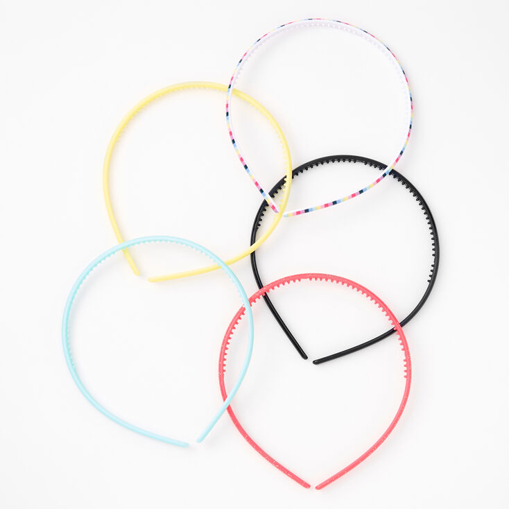 Claire's Club Printed & Pastel Headband Set - 5 Pack,