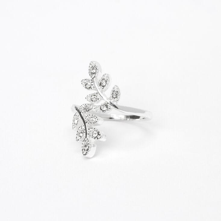 Silver Embellished Leaf Wrap Midi Ring,