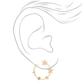 Pendantes circulaires étoiles ornementées 4cm couleur dorée,
