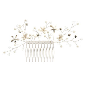 Pearl & Crystal Flower Large Hair Comb,