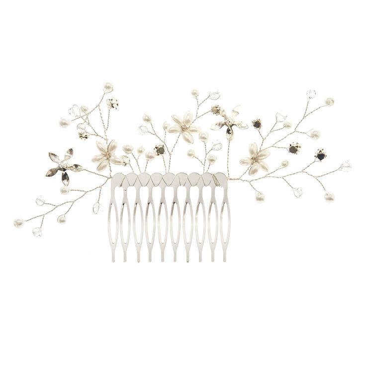 Grand peigne à cheveux à fleurs perle d'imitation et strass,